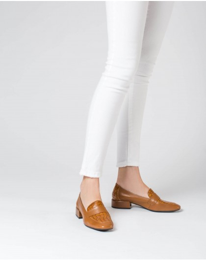 Wonders-Flat Shoes-Leather Peny loafer with saddle