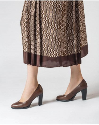Wonders-Heels-Leather court shoe with rounded toe