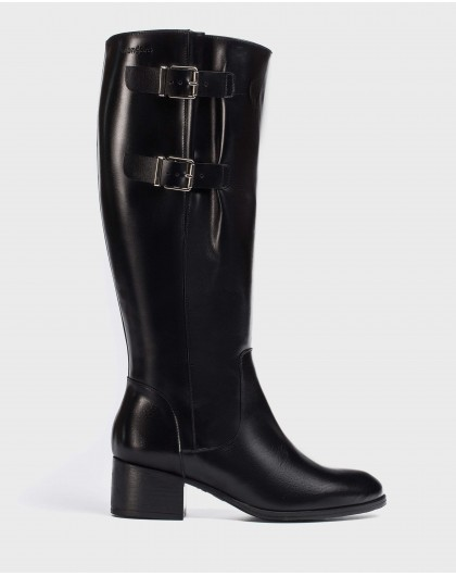 Wonders-Outlet-Leather boot with a wider fit