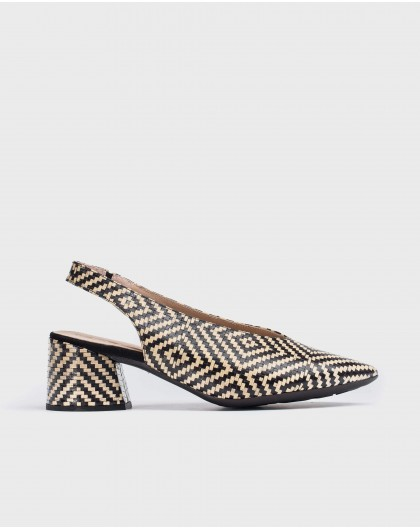 Wonders-Outlet-High heeled braided leather shoe