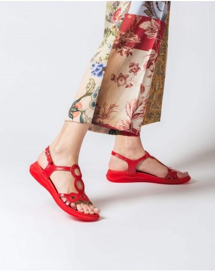 Wonders-Sandals-Flat leather circle sandal