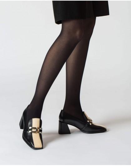 Wonders-Heels-Black and Cream Versalles Moccasin
