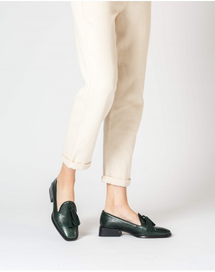 Wonders-Flat Shoes-Green Manolo Moccasin