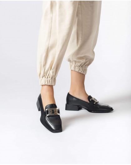 Wonders-Flat Shoes-Black Metal Moccasin