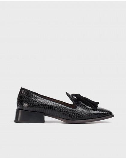 Wonders-Flat Shoes-Black Manolo Moccasin