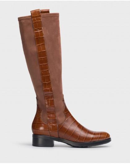 Wonders-Boots-Brown Margot licra Boot